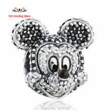 2015 Sparkling Clear CZ Mickey mouse se adapta a Pandora pulsera plata de ley 925 de dibujos animados de los encantos DIY joyería fina venta al por mayor