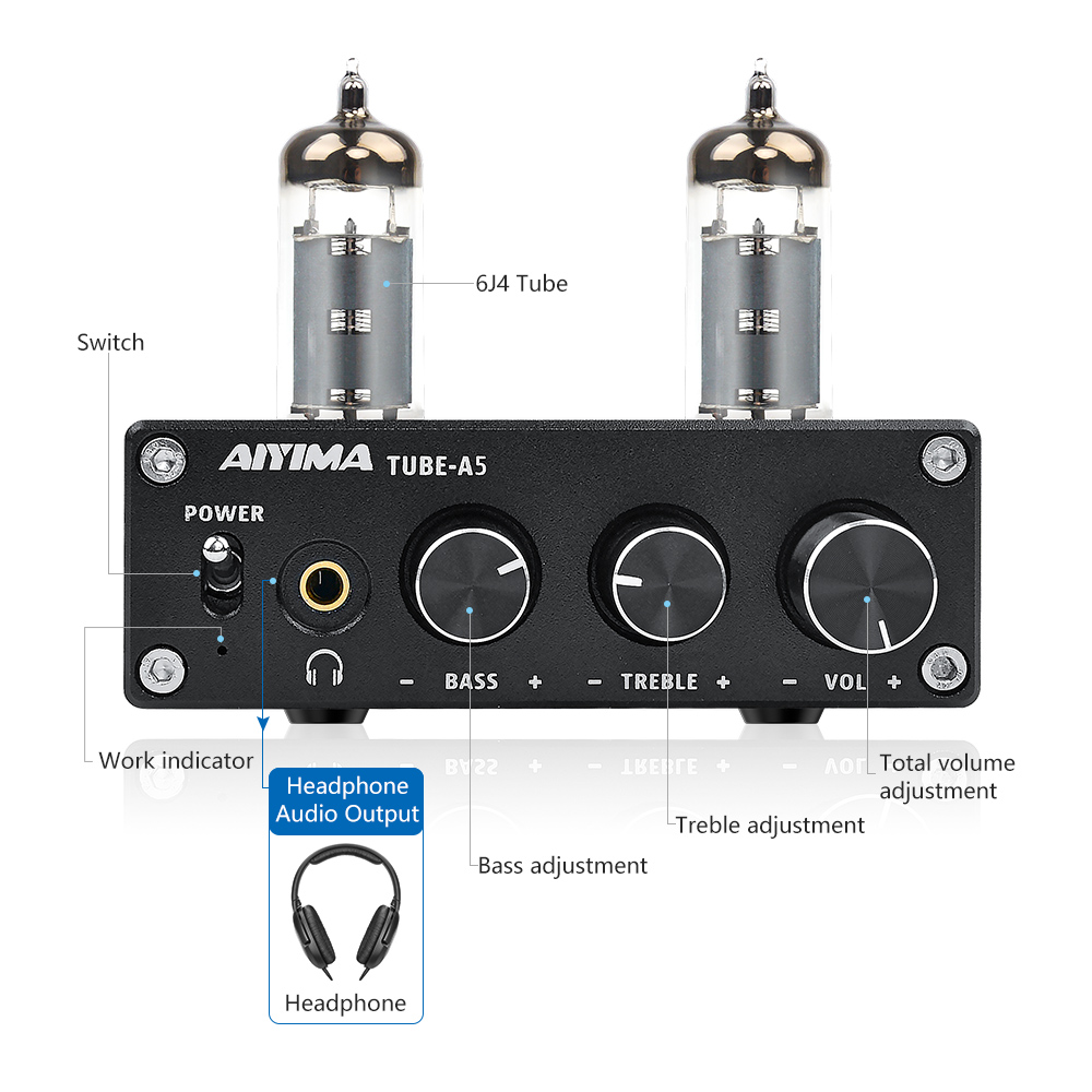 AIYIMA TPA3116D2 Bluetooth 4.2 Amplifier 50W*2 HiFi Vacuum 6J4 Tube Digital Amplifiers Stereo Power Amp With Treble Bass Tone