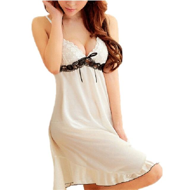 d2d31f8b2 2016 Nueva Sexy Ropa de Dormir Camisón Babydoll de Encaje Chemise ropa de Dormir  Vestido de