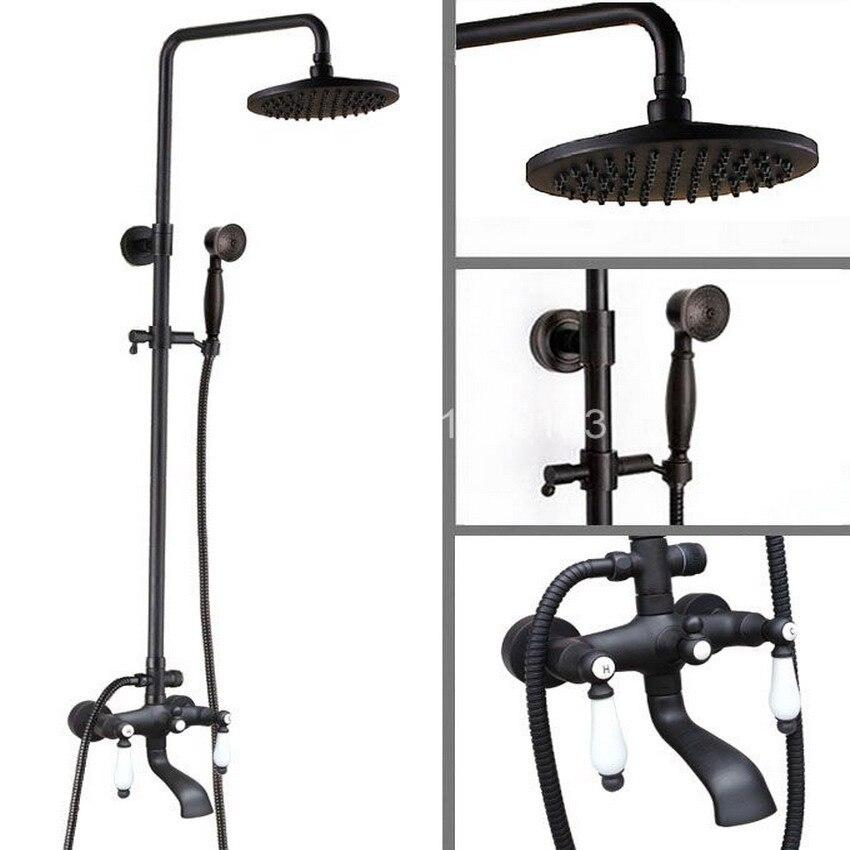 Black Oil Rubbed Brass Dual Ceramics Handles Bathroom Rain Shower Faucet Set + Rainfall 8 Shower Head + Handheld Shower ahg145