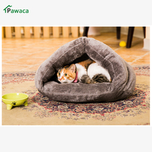 hot sale pet cat bed small dog puppy warm bed house soft comfortable puppy cat kitten cave nest soft brown dog cat bed house