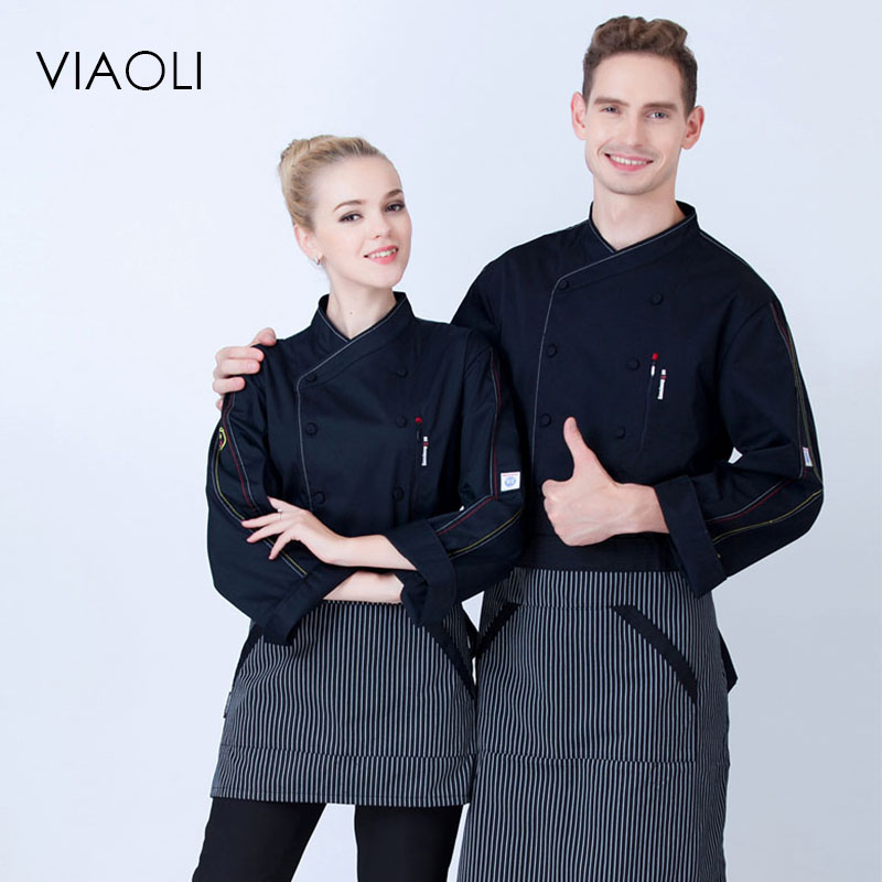 VIAOLI new arrival spring quality long sleeve white black restaurant kitchen work clothes chef cloth and cook uniform for man