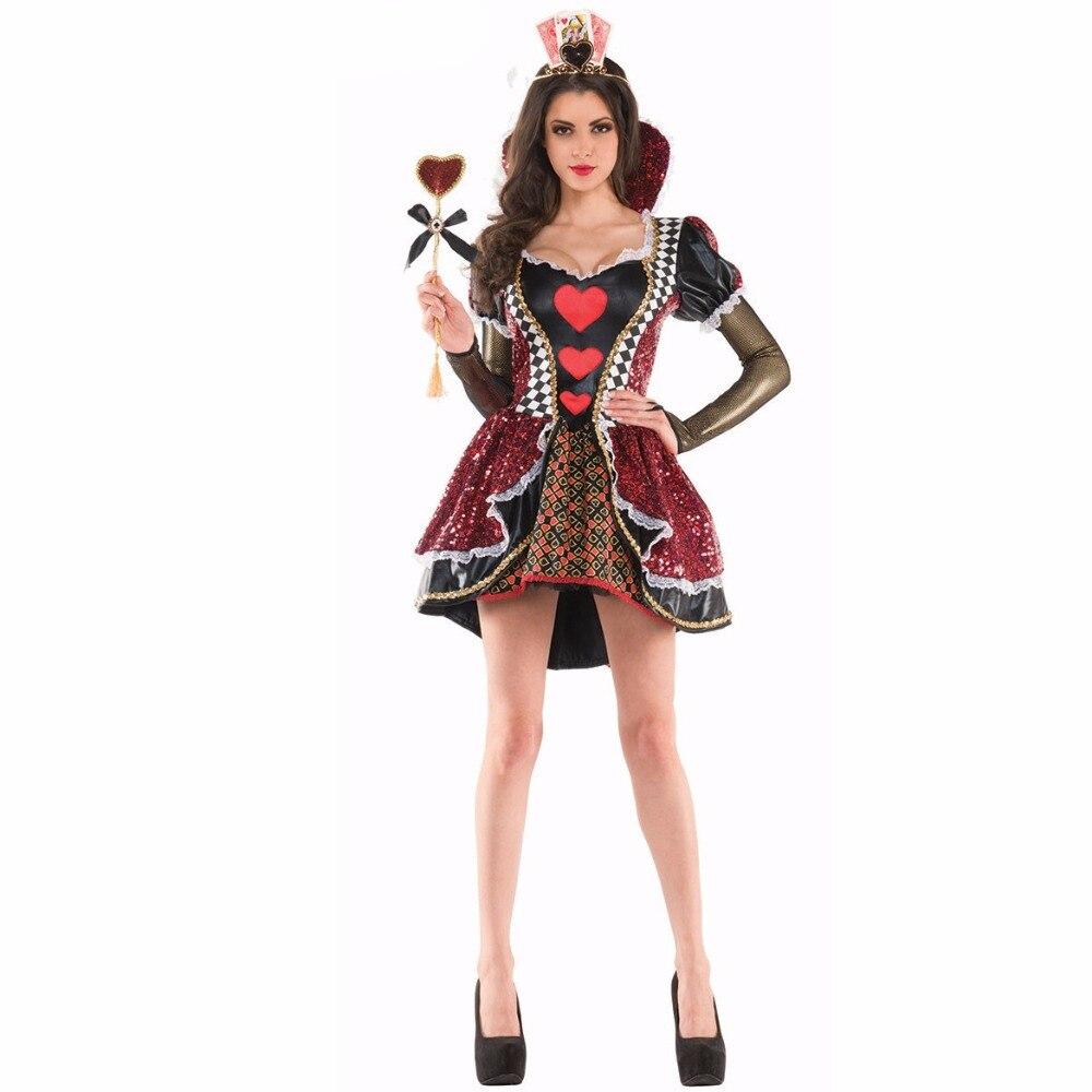 Alice In Wonderland Costume Red Queen of Hearts Costume Fancy Dress for Women Halloween Party Cosplay Costumes Adult