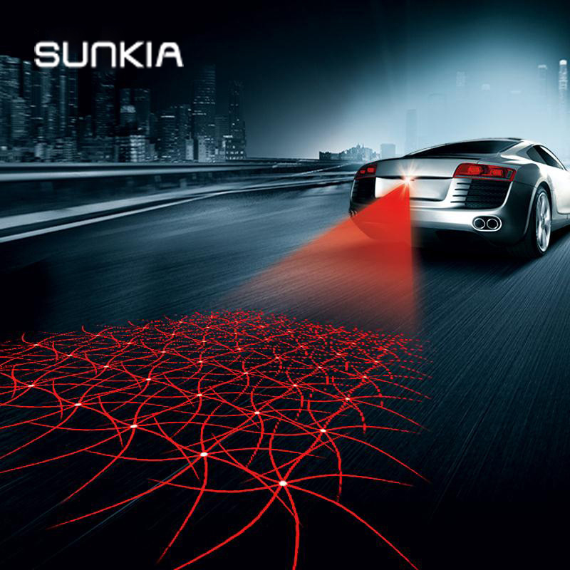 SUNKIA Shining Type Anti Collision Rear-end Car Laser Tail Fog Light Auto Brake Parking Lamp Rearing Warning Light Car Styling