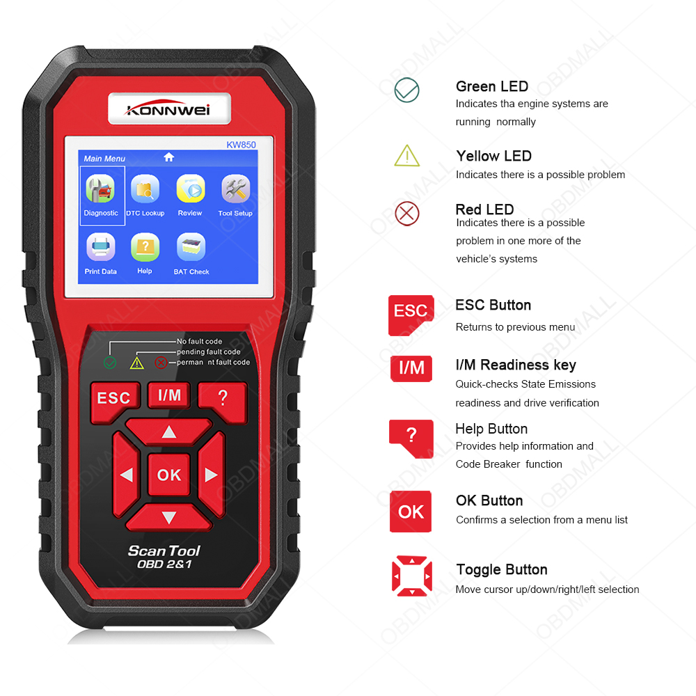US $47 23 35% OFF|KONNWEI KW850 obd2 auto diagnostic scanner Full OBD 2  OBDII Code Reader Scanner Car diagnostics tool can one click I/M readiness  on