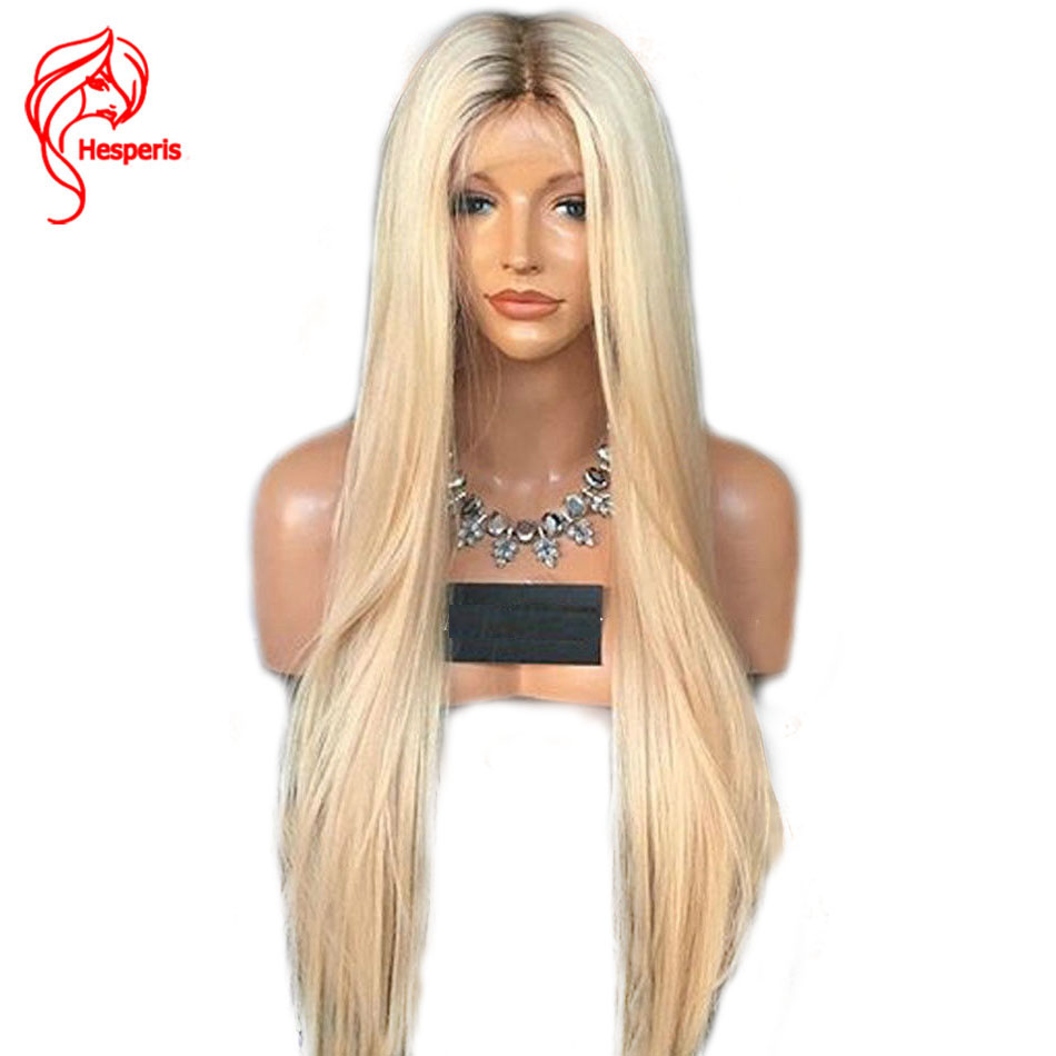 Hesperis Ombre Blonde Brazilian Remy Human Hair Glueless Full Lace Wigs Silky Straight 1B/#613 Lace Wigs With Baby Hair