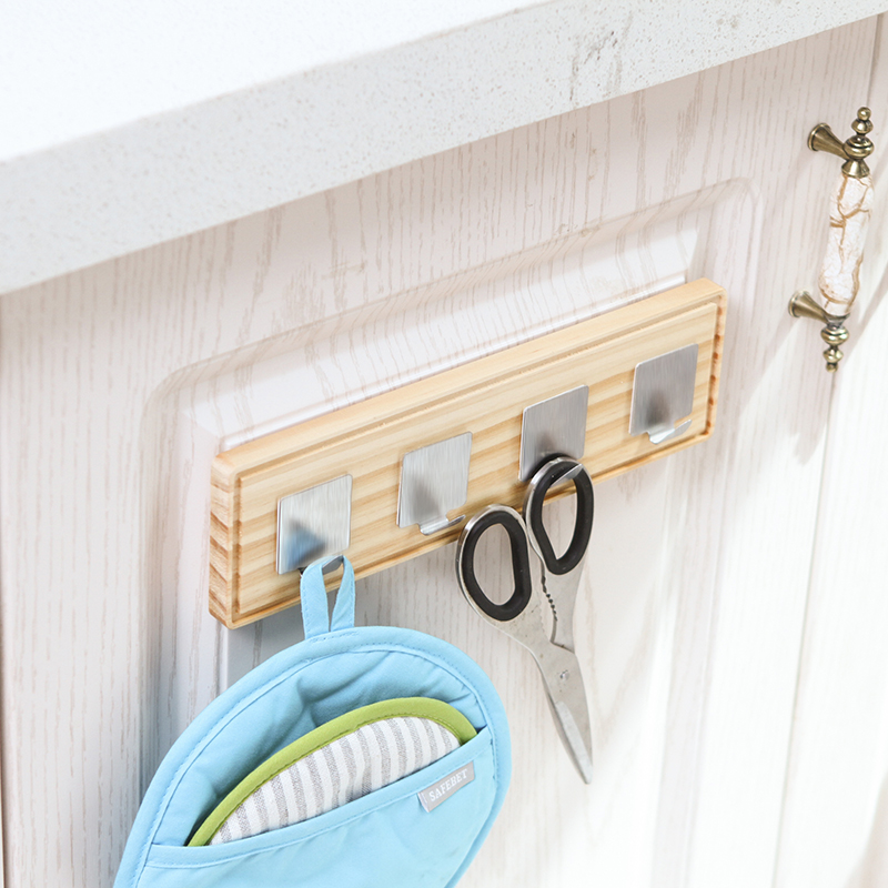 16*7.5cm Small Strong Wall Self Adhesive Sticky Wood & Stainless Steel Hook Hanger Holder Rack Door Wall-Mounted Home Decorative