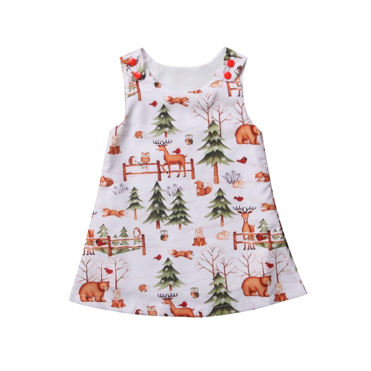 100% QualitäT Mode Prinzessin Santa Baum Hirsche Print Kleid Baby Mädchen Kleid Party Kleider Sommerkleid Kleidung