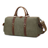 Retro Large Capacity Handbag Canvas & Leather Travel Bags Casual Men Hand Luggage Leisure Travel Duffle Bag Male Crossbody bag