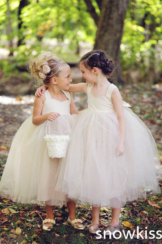 Haute Couture ivory Bow Sash Tulle mid-calf Ball Gowns simple kids Tutu Flower Girl Dress for party birthday wedding occasion статуэтка haute couture статуэтка месяц sr 640