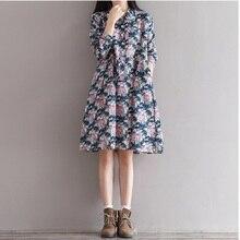 2017 Осень Весна Цветочные Печати Dress Отложным Воротником Белье Старинные Dress Длинным Рукавом Элегантный Sweet Vestidos Femininos М-2XL