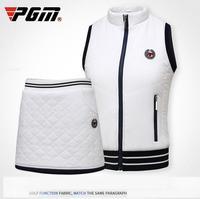 PGM Winter Golf Sportwear Women Thick Velvet Sleeveless Jackets Waistcoats High Elastic Windproof Tennis Vest Golf Short Skirt