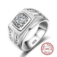 Hot Sprzedaż Marka Moda Męska 925 Drzazga CZ Pierścionek Zaręczynowy Pierścień Sliver Plated 0.75ct Diamant Cyrkon Popularne Mężczyzn Biżuteria
