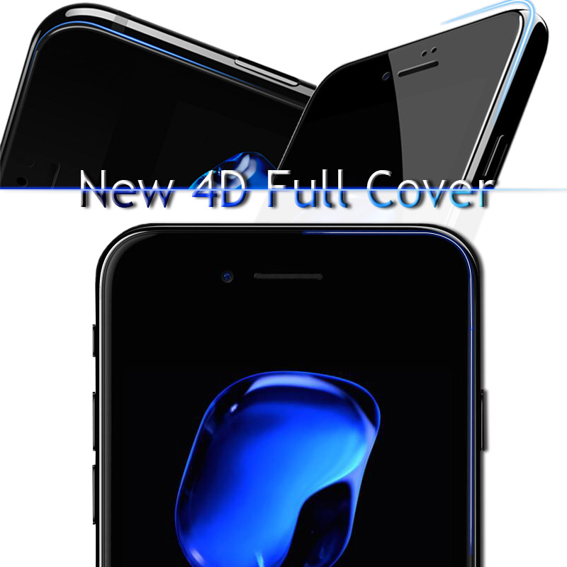 """4D (2nd Gen 3D) Full Cover Tempered Glass For iPhone 7 7 Plus Curved Explosion protection Film 9H Hard Case On 7 7PLus 4.7"""" 5.5"""" 1"""