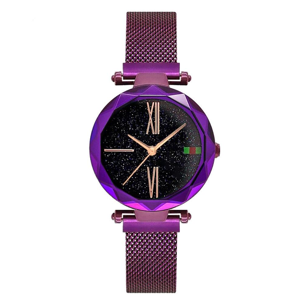 Luxury Starry Sky Watch Rose Gold Women Watch Black Magnet Buckle Fashion Unique Casual Elegant Lady Quartz Wristwatch Gift