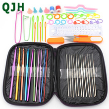 58pcs/set QJH Brand Aluminum Crochet Hooks Set Ergonomics Knitting Needles Aluminum Weave Craft DIY Sewing Tools Stitch Loom Kit