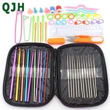 58pcs/set QJH Brand Aluminum Crochet Hooks Set Ergonomics Knitting Needles Weave Craft DIY Sewing Tools Stitch Loom Kit