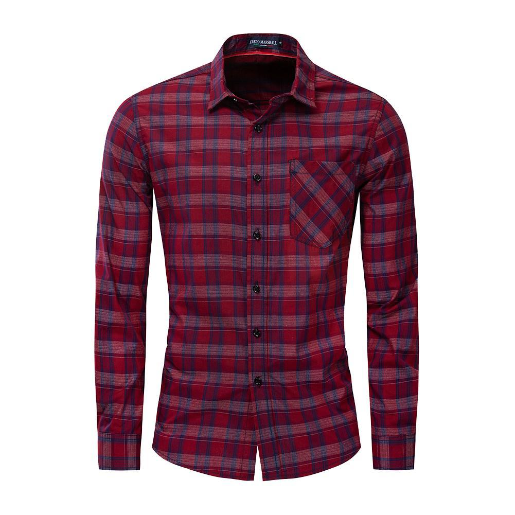 Plaid Shirt Casual Slim Fit 100% Cotton Long Sleeve Tops Shirts With Pocket Shirts For Men Long Sleeve Long Sleeve Shirts