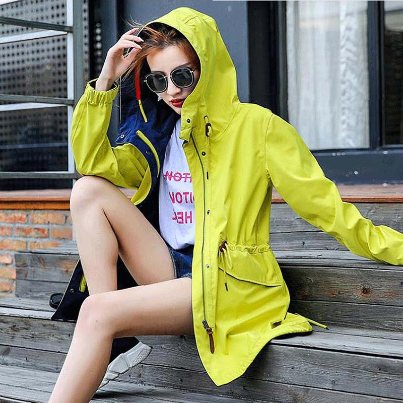2019 Women Soft shell Single Layer Jacket Waterproof Mid-length Windbreaker Outdoor Hiking Windproof Women Outdoor Sports Jacket