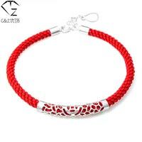 100% Real 925 Charm pulsera hilo rojo cuerda cadena pulseras del amante de nueva moda