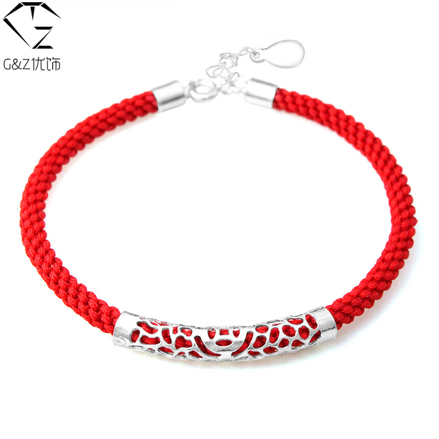 100% Real 925 Sterling Silver Charm Bracelet Red corda cadeia corda pulseiras para o amante da moda de nova