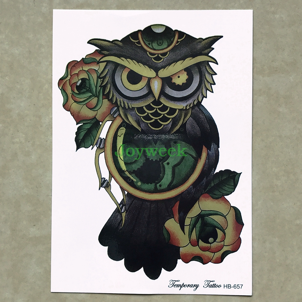 Temporary Tattoo Sticker Large Size Body Art Sketch Flower: Waterproof Temporary Tattoo Sticker Large Size Owl With