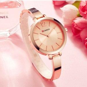 Image 5 - Curren Fashion Gold Vrouwen Horloges 9012 Roestvrij Staal Ultra Dunne Quartz Horloge Vrouw Romantische Klok Vrouwen Horloges Montre Femme