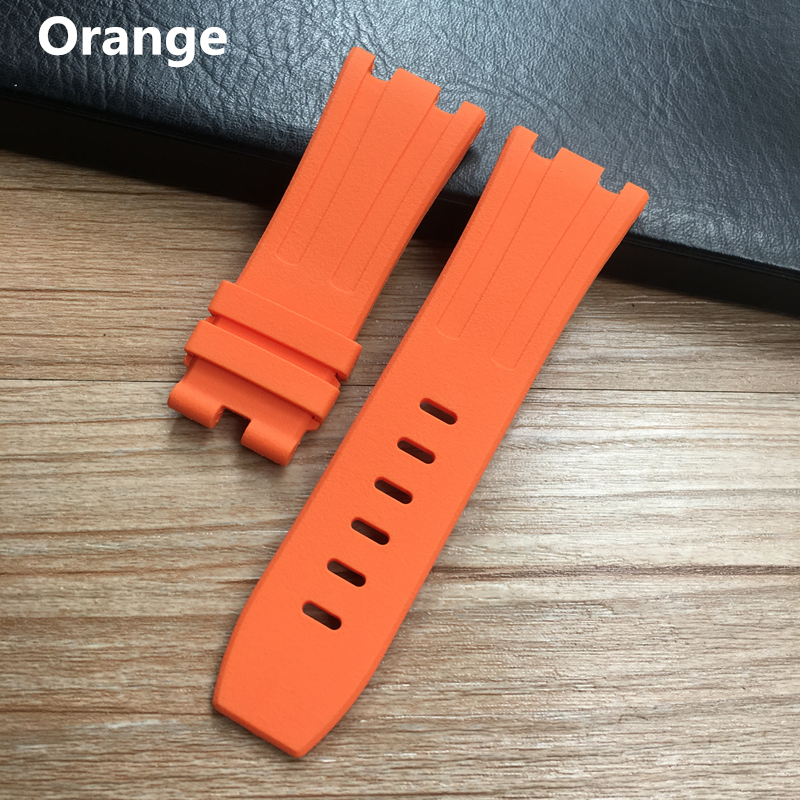 Image 5 - 28mm Soft Black White Green Yellow Orange Gray Blue Red Silicone Rubber Watch Strap Bracelet For AP ROYAL OAK Watchband BeltWatchbands   -