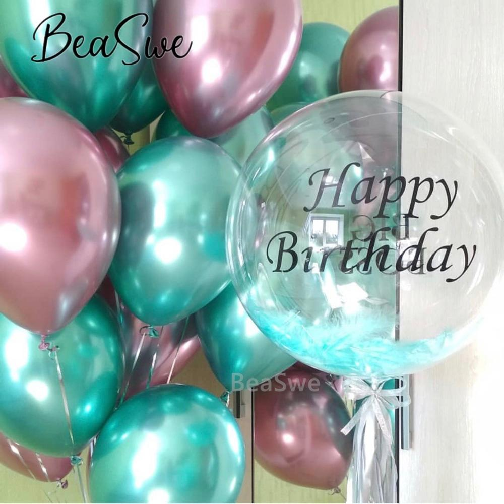 Happy Birthday Black Sticker With 18 Transparent Bubble Balloons Pink Green Metal Latex Helium Balloon Party Decoration Supplies Ballons Accessories Aliexpress