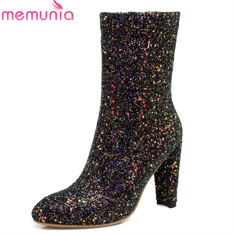 MEMUNIA 2018 new style sequined cloth ankle boots for women pointed toe autumn winter boots high heels prom shoes woman MEMUNIA 2018 new style sequined cloth ankle boots for women pointed toe autumn winter boots high heels prom shoes woman