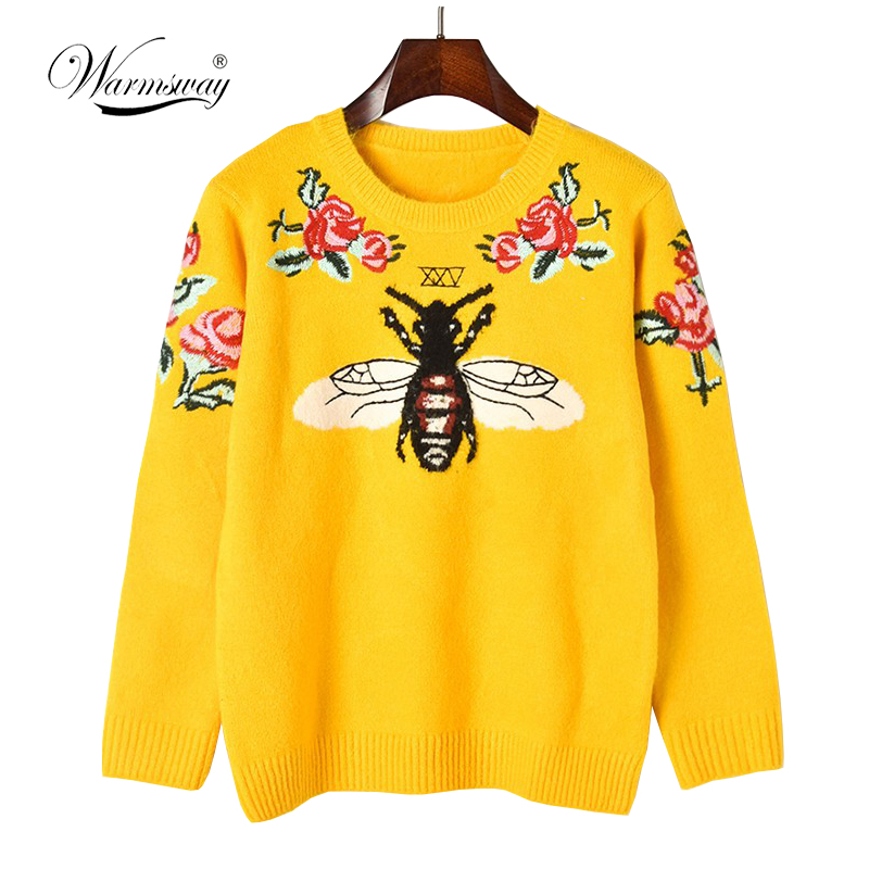 Fashion Runway Women Sweater Autumn Winter Floral Embroidery Bee Animal Sweaters Long Sleeve Yellow Pullover Jumper Tops  C-227