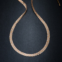 Collar para Mujer y hombre, Unisex, cadena tejida de oro puro de 18K, cadena ancha y plana, cadenas tejidas, collar, Gargantilla Vintage