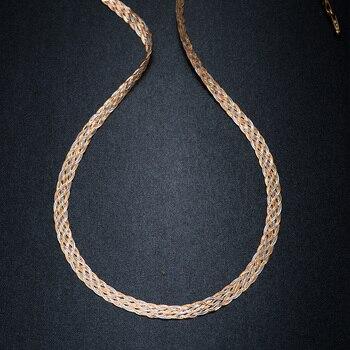 0ce97b75ebe5 Collar para mujer hombres unisex 18 K oro puro Weaving cadena plana cadena  ancha punto Cadenas collar gargantilla vintage collares mujer