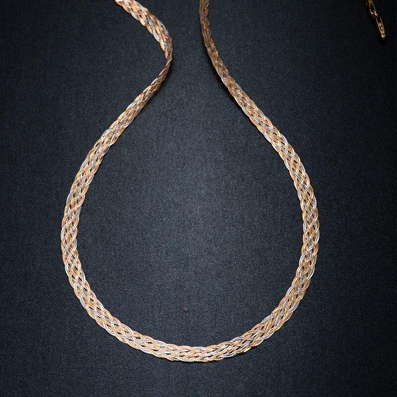 Collier pour femmes hommes unisexe 18K pur or chaîne de tissage plat large chaîne tricoté chaînes collier Choker Vintage Collares Mujer