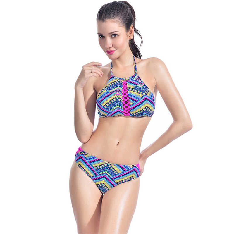 0b82d675c10d4 ... AXESEA Sexy Halter Bikini Set Women Push Up Swimwear Brazilian Bandage  Swimsuit Striped Pad Retro Ethnic ...