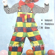 Cosplay adult party Clown costume including Tops Pants Tie