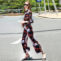 Vintage Twinset New 2016 Autumn Fasmou New Long Sleeve Slim Print Fashion Tops + Ankle Length Long Pants Loose Elegant Sets