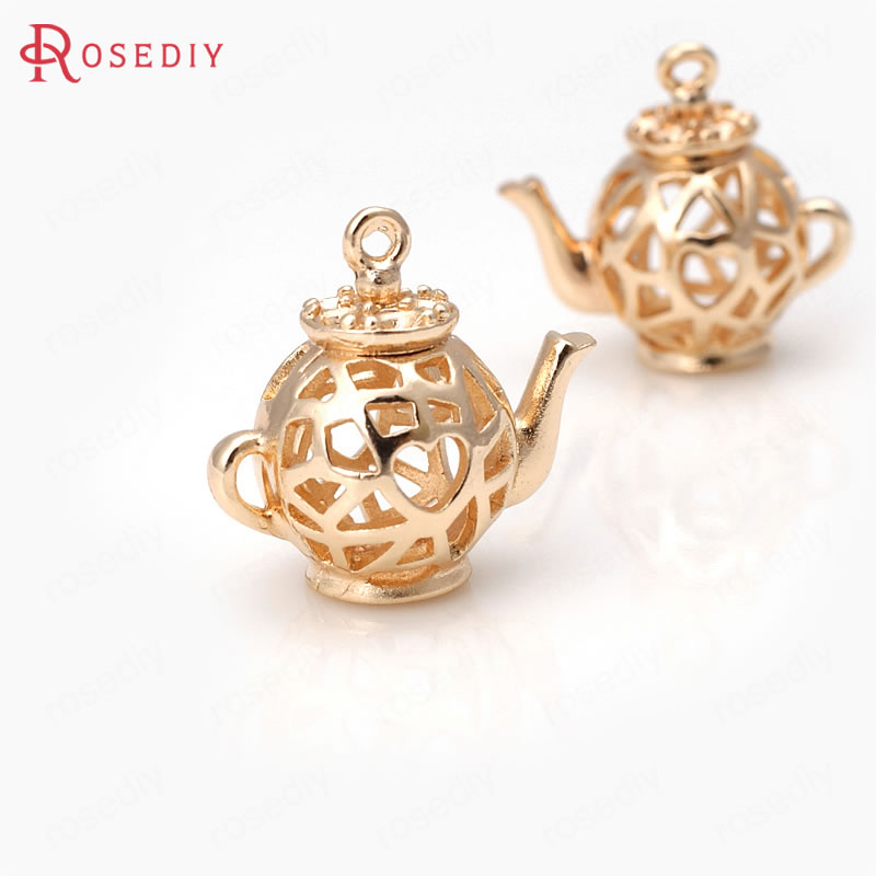 4PCS 17x18MM 24K Champagne Gold Color Plated Brass 3D Teapot Charms Pendants High Quality Diy Jewelry Accessories