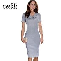 VEKLE Women Peter Pan Collar Elegant Office Dress Retro Pencil Sheath Solid Brief Knee Length Robe