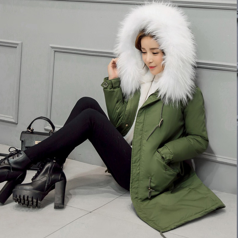Winter women fashion fur collar hooded thick coat warm 2017 new army green parkas long casual jacket Female warm wadded coat new arrival parkas winter warm women coat hooded fur collar outerwear female thick wadded jacket spliced casual style overcoat