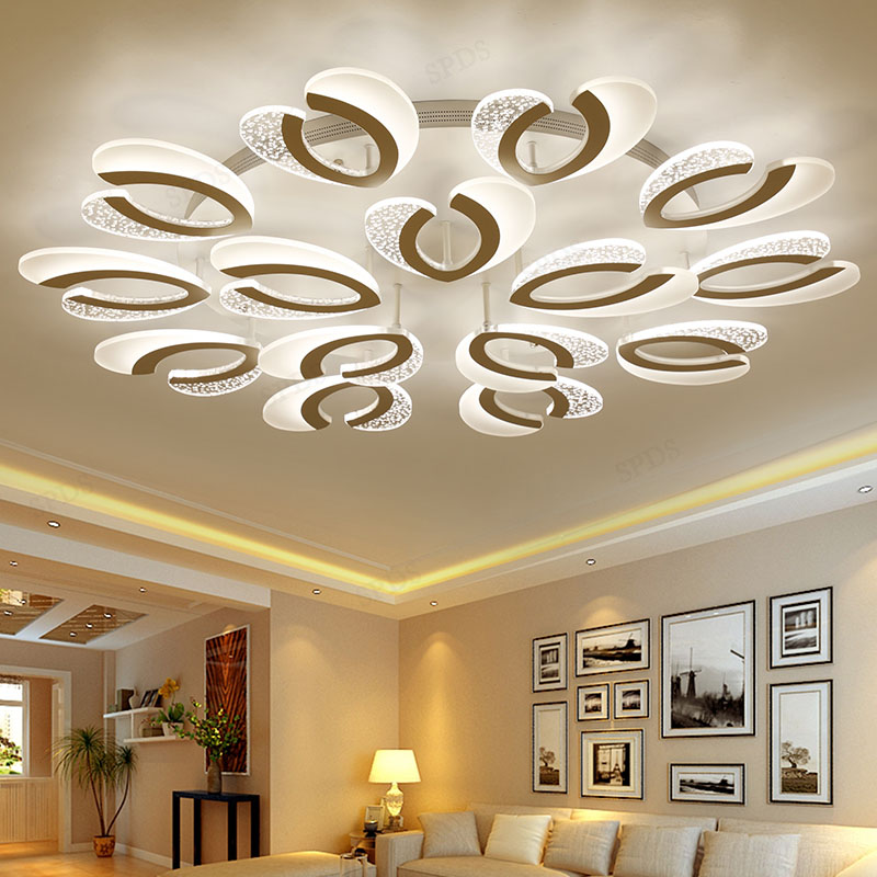 Modern wrought iron acrylic ceiling lighting for living room led lamp lamparas de techo Surface mounted indoor lighting