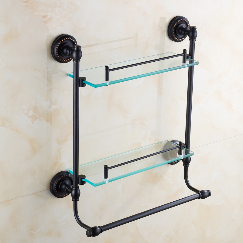 Oil Rubbed Bronze Dual Tier Bathroom Shelf Black, Copper Glass Rack Shelf  Towel Bar, Antique Bedroom Dresser Shelf Wall Mounted In Bathroom Shelves  From ...
