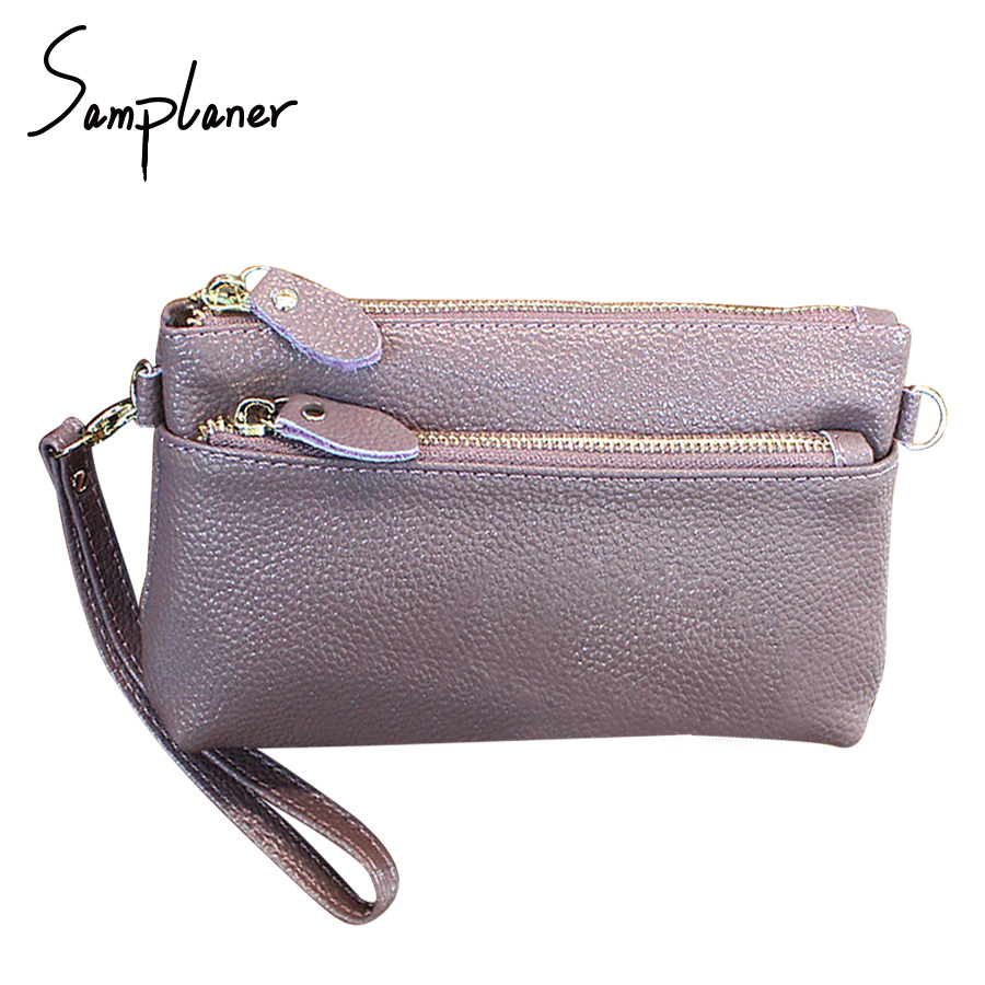 Samplaner Genuine Leather Zipper Women Clutch Bag 2017 Brand Wristband Female Hand Bag Phone Coin Pocket Ladies Cross Body Bags