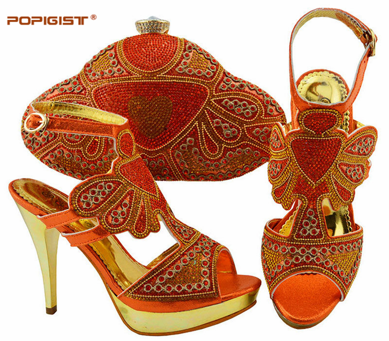 Nice Design Orange Shoes And Bag Set New Women Shoes And Bag Set In Italy Italian