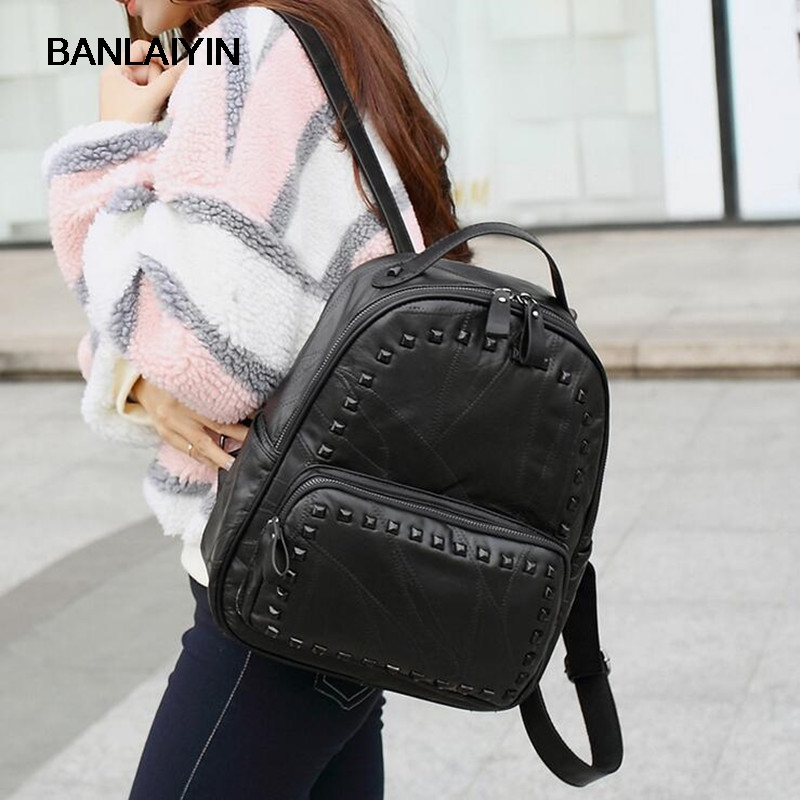 Fashion Women Rivet Backpack Genuine Leather Black Shoulder Bag Big School Bags For Teenagers Girls Casual Travel Bagpack sendefn genuine leather backpack large capacity rivet black shoulder bag women casual backpack teenage girls school travel bags