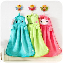 Baby Nursery Hand Towel baby bath towels Toddler Soft Plush Cartoon Animal Wipe Hanging Bathing Towel For Children Bathroom(China)