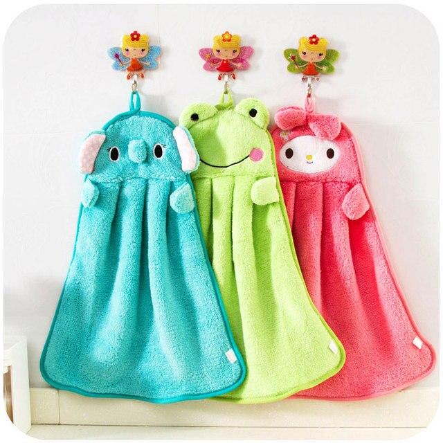Toalha de Mão toalhas de banho do bebê Da Criança do Berçário do bebê Wipe Macio Plush Animal Dos Desenhos Animados Pendurado Toalha De Banho Para Crianças Banho