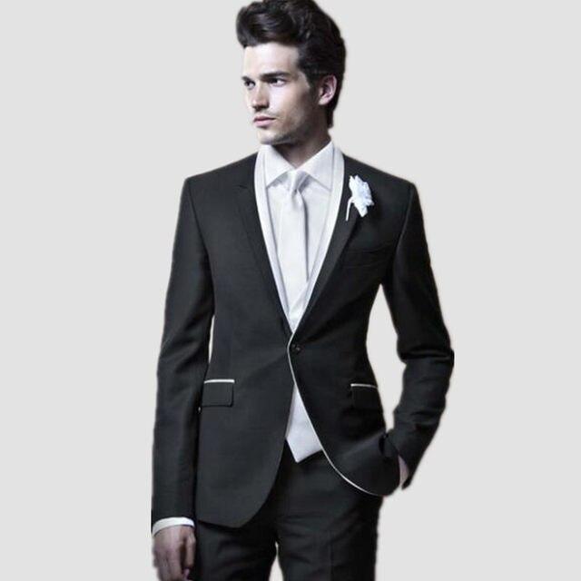 Online Shop White & Black Mix Match Men Suits Men\'s Dinner Party ...