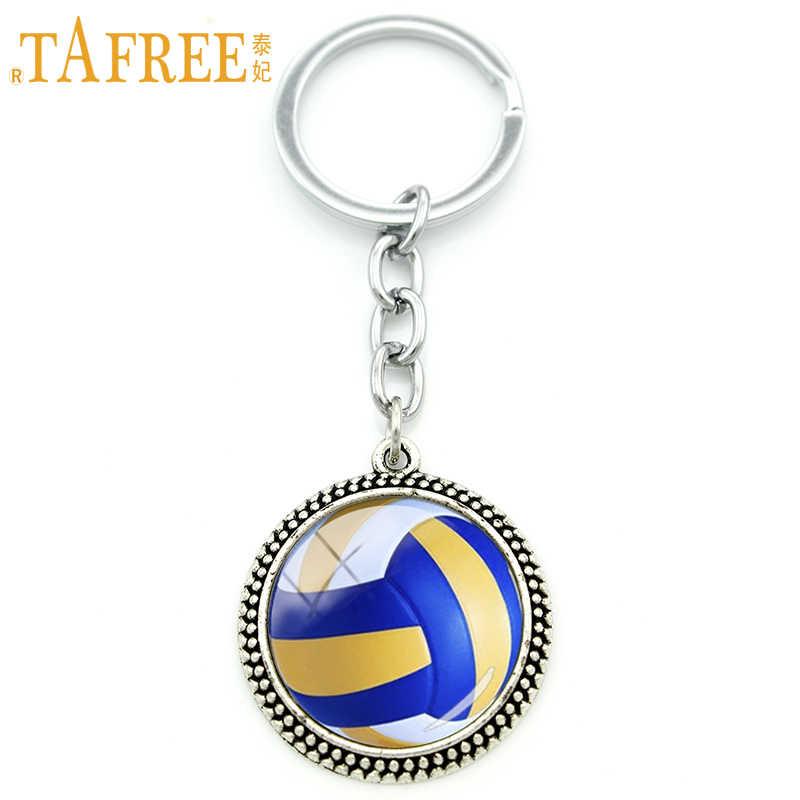 TAFREE Cool ball fan joyería llavero de voleibol de playa colgante llavero Chapado en plata voleibol hombres mujeres fiesta regalo KC255