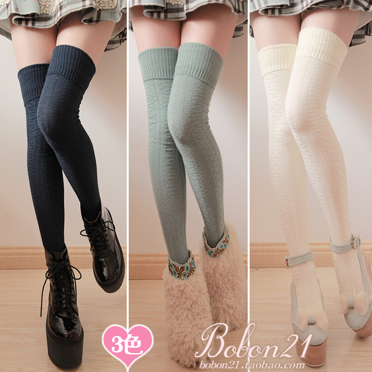 Doux lolita Barres bobon21 délicate découpe plaid motif décoratif rallongent over-the-genou chaussettes chaussettes de cuisse ac0970